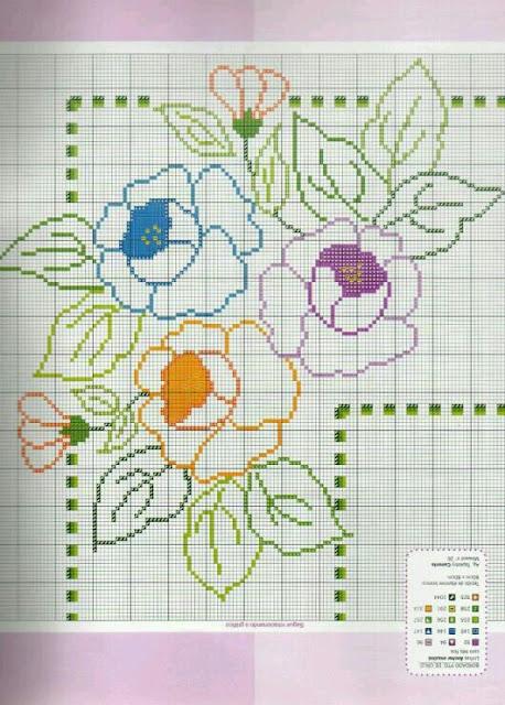 c9d51f00ec ♥Meus Gráficos De Ponto Cruz♥  Flores Vazadas para Toalhas de Mesa ...