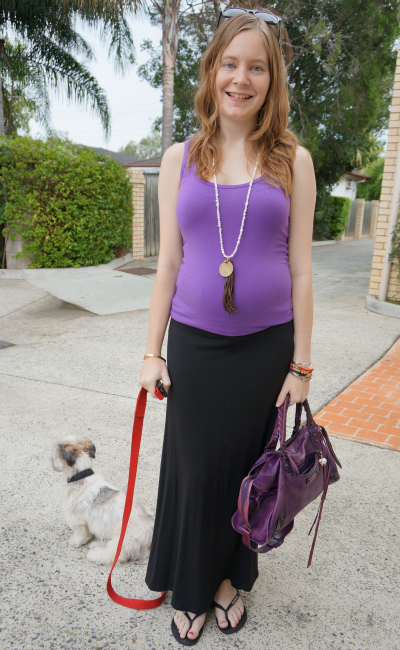 Jeanswest pregnancy outfit second trimester purple tank black maxi skirt