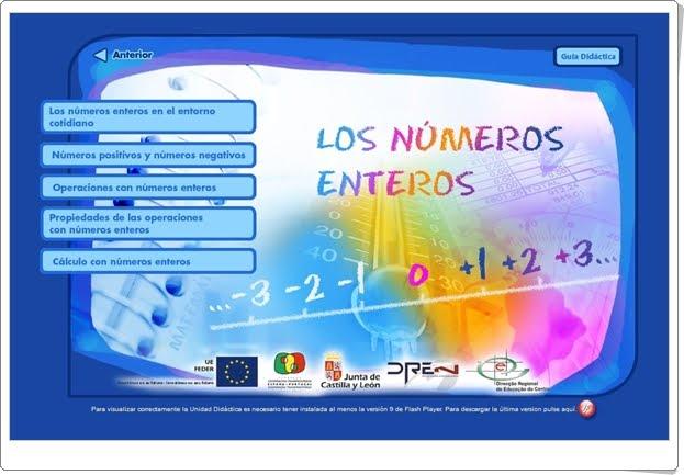 """""""Los números enteros"""" (Aplicación interactiva de Matemáticas)"""