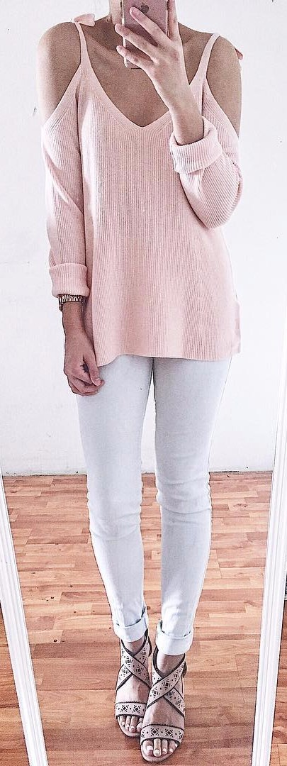 blush + white = office look / interview outfit
