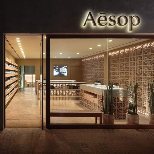 Tinuku Campana studio use coster cobogó terracotta bricks design for Aesop store in São Paulo