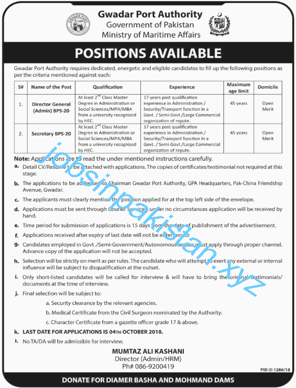Gwadar Port Authority Jobs 2018 Advertisement
