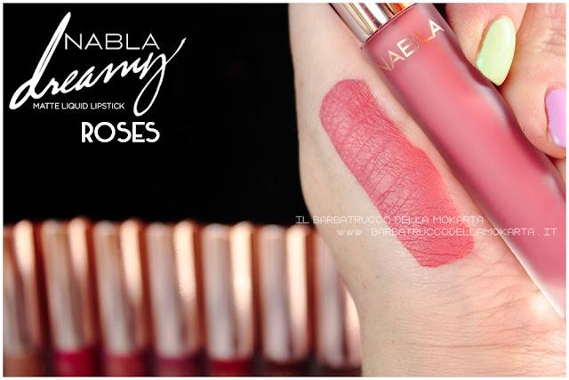 roses Dreamy Matte Liquid Lipstick rossetto liquido nabla cosmetics swatches