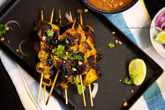 how to make Chciken Satay with Spicy Peanut Sauce recipe and preparation with step by step pictures