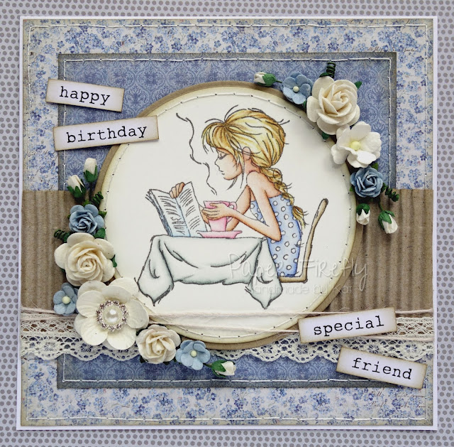 Handmade blue floral vintage style card featuring girl with coffee (image from LOTV)