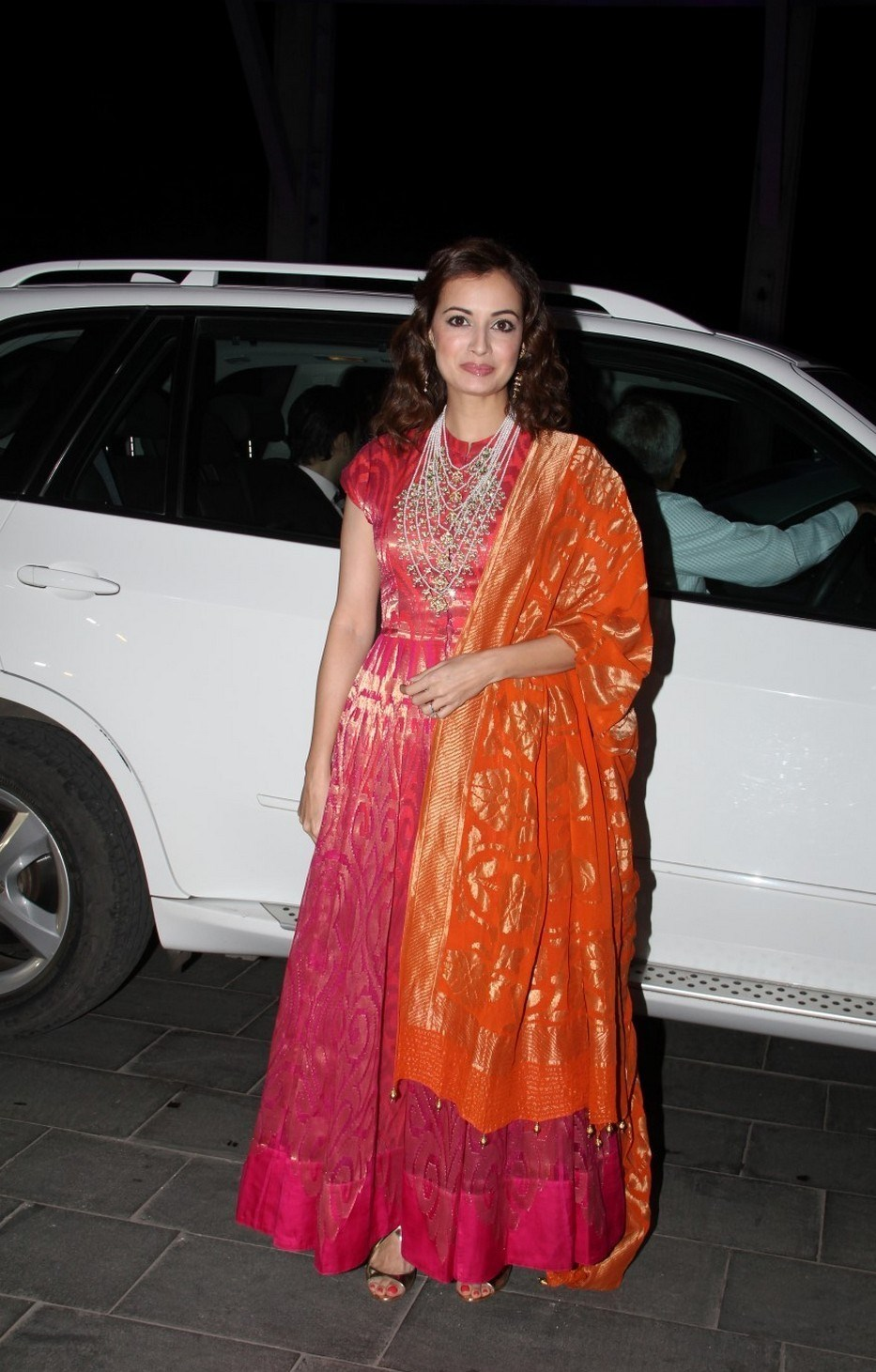 Bollywood Actress Hot In Orange Dress Dia Mirza