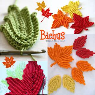 Cómo hacer hojas a crochet y esquemas