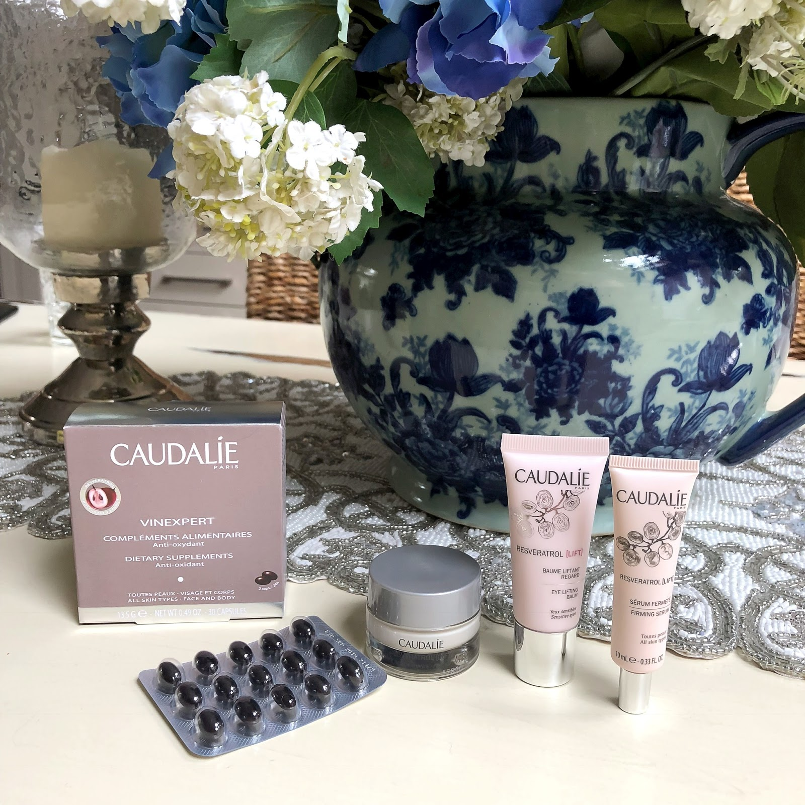 my midlife fashion, caudalie resveratrol eye set, caudalie vinexpert dietary supplements