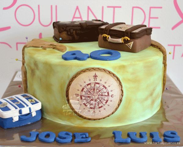 la primera tarta fu para jos luis que en su cumpleaos le prepararon una fiesta sorpresa y para dicha fiesta nos pidieron una tarta viajera ya que el