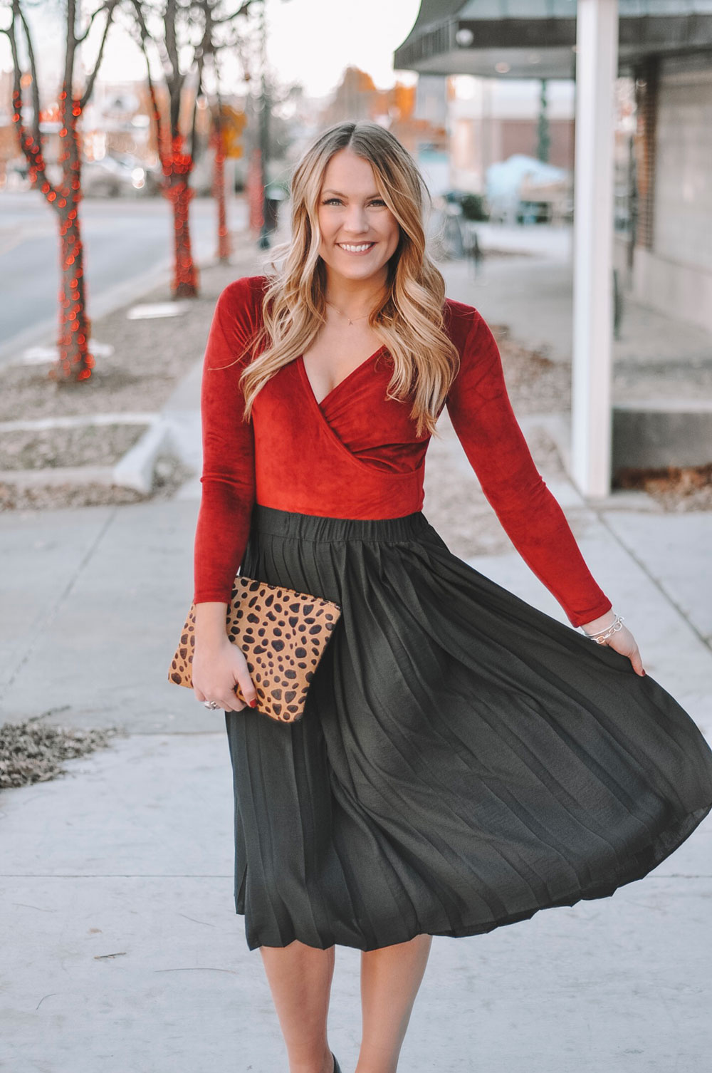 Oklahoma City blogger Amanda's OK shares ideas for holiday party outfits.