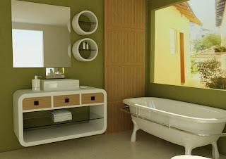Diseño de baño verde