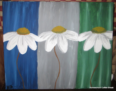 Painted Daisies on the Virtual Refrigerator art link-up hosted by Homeschool Coffee Break @ kympossibleblog.blogspot.com #art  #VirtualFridge