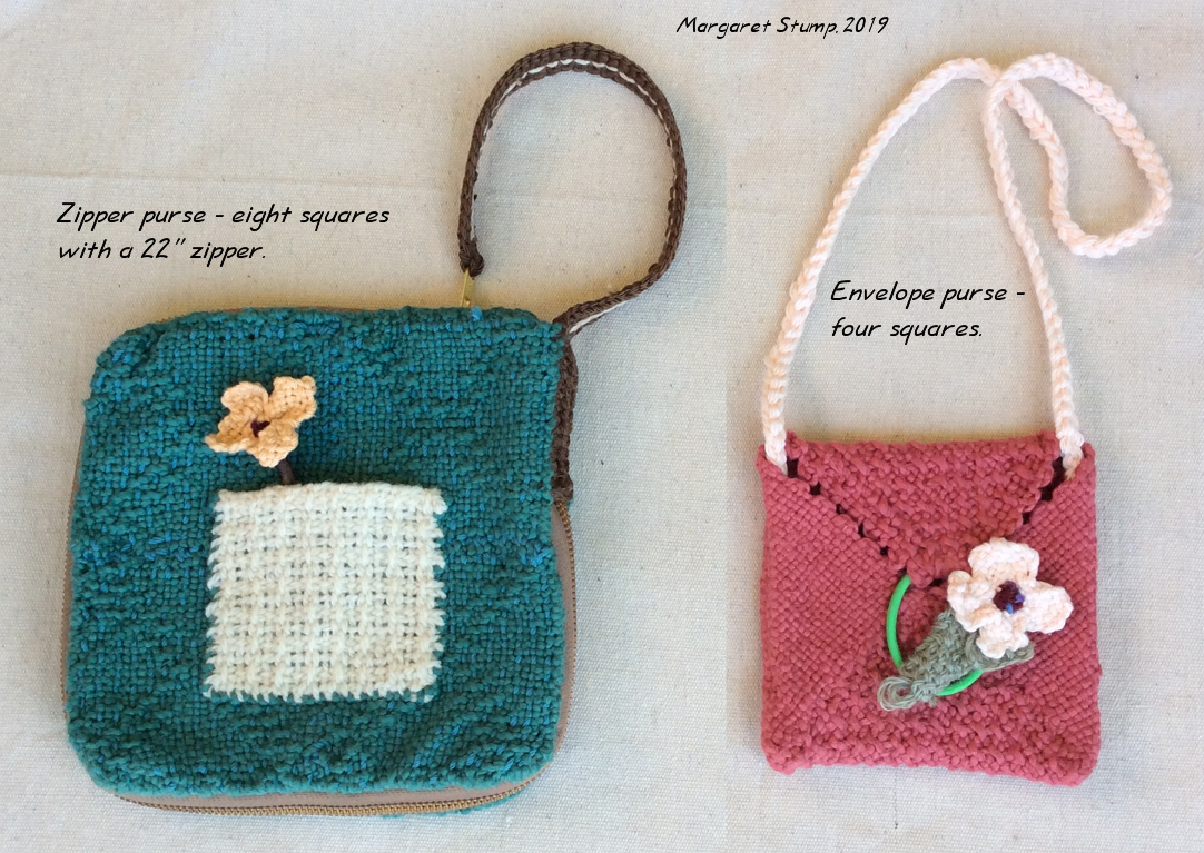 the envelope purse is made with four squares plus a couple 2 x 2