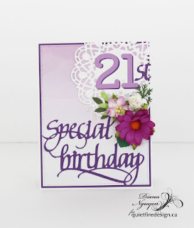 Diana Nguyen, Quietfire Design, birthday, Wild Orchid Flowers, Lawn Fawn, Our Daily Bread Designs, Doily