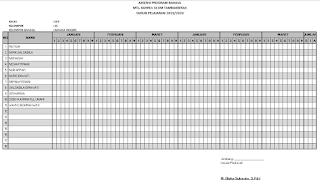 Contoh Format Absensi Program Bahasa untuk MTs/SMP Excel