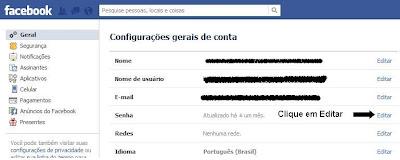Alterar senha do Facebook