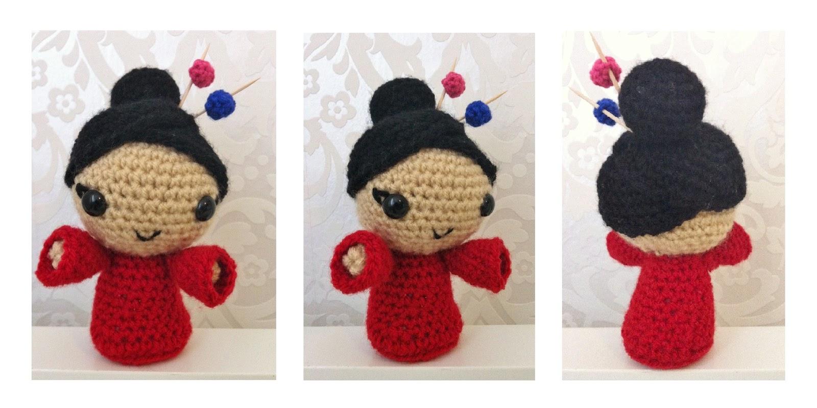 Amigurumi Geisha, Kokeshi, a Japanese Doll | Toma Creations | 799x1600