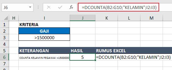 Contoh Fungsi DCOUNTA Excel