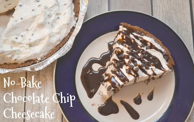 No-Bake Chocolate Chip Cheesecake, no-bake desserts, chocolate chip cheesecake, no-bake cheesecake, ice box pie, cheesecake recipes