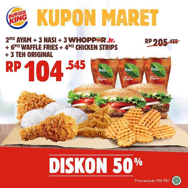 #BurgerKing - #Promo Kupon Diskon 50% Maret Beragam Paket (s.d 30 April 2019)