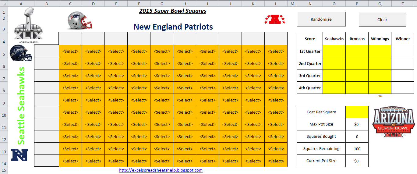 2015 super bowl squares spreadsheet template
