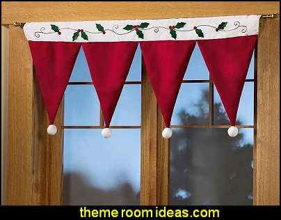 Christmas Santa Hat Window Valance  Christmas decorating ideas - Christmas decor - Christmas decorations - Christmas kitchen decor - santa belly pillows - Santa Suit Duvet covers - Christmas bedding - Christmas pillows - Christmas  bedroom decor  - winter decorating ideas - winter wonderland decorating - Christmas Stockings Holiday decor Santa Claus - decorating for Christmas - 3d Christmas cards