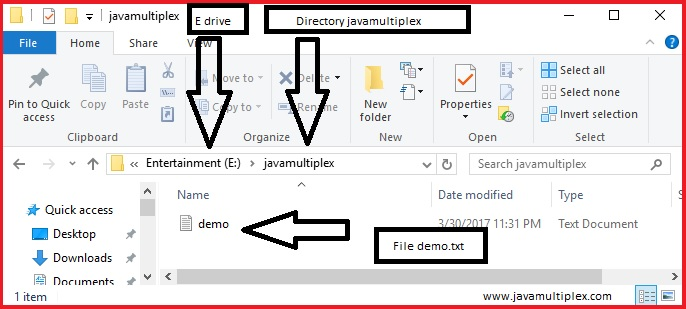 given file is present in given directory.