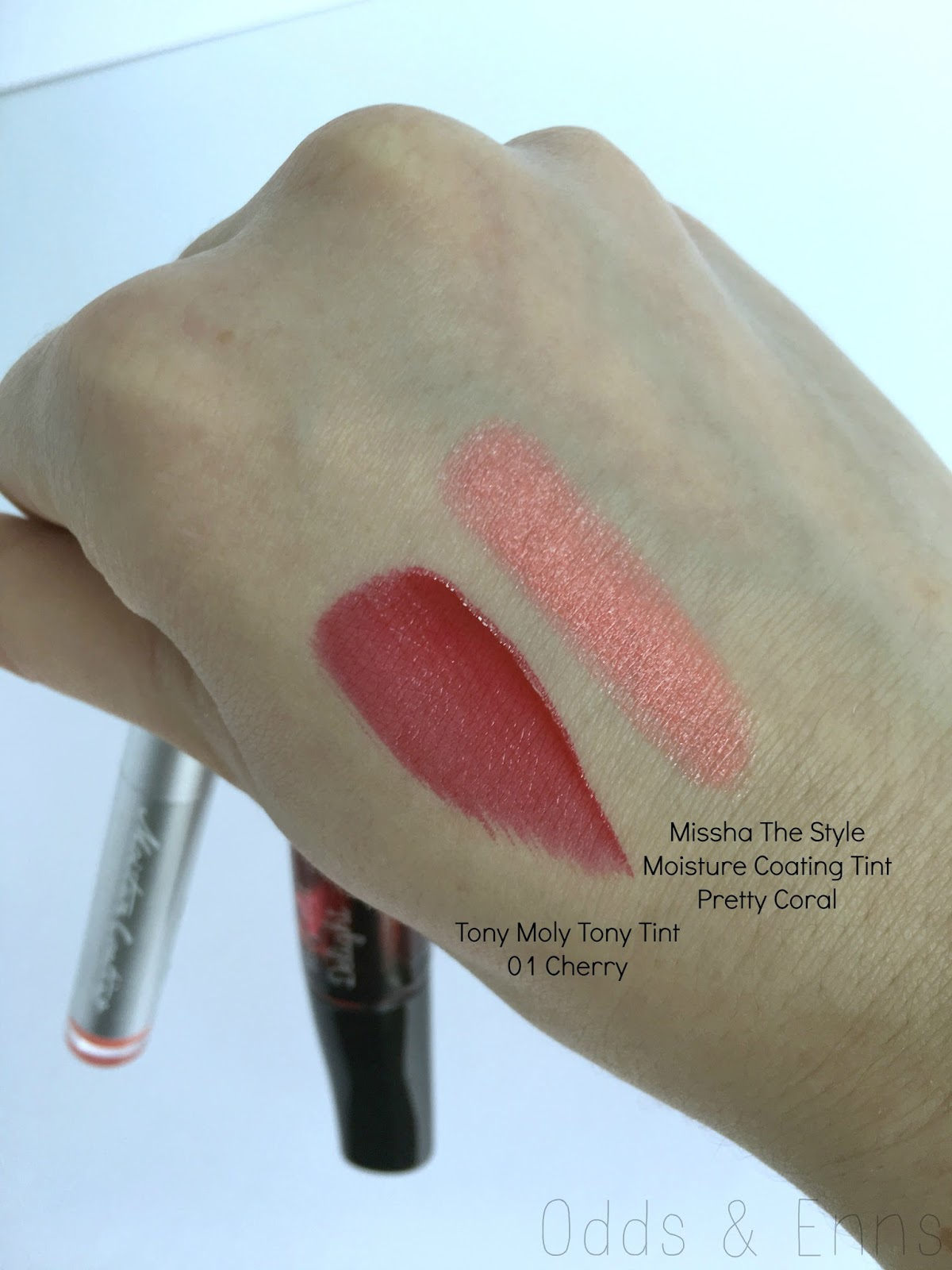 Tony Moly Tony Tint & Missha The Style Moisture Coating Tint Swatches