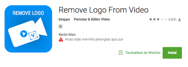 Cara Menghapus Watermark Logo Video editing di Android