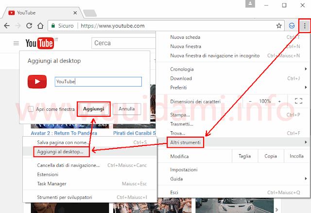 Chrome aggiungere sito internet al desktop