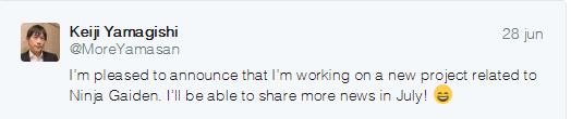 A novidade, anunciada via twitter de Yamagishi, é de que ele estava trabalhando em um novo projeto relacionado com Ninja Gaiden