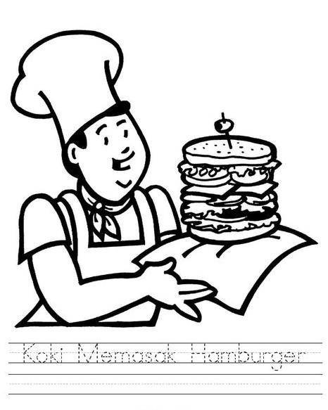 Lembar Kerja Menulis Huruf Koki Memasak Hamburger