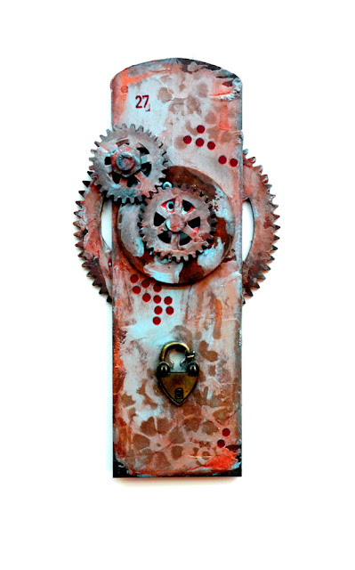 Distressed Tando Creative Chipboard Door with Layered Gears Painted with DecoArt Media