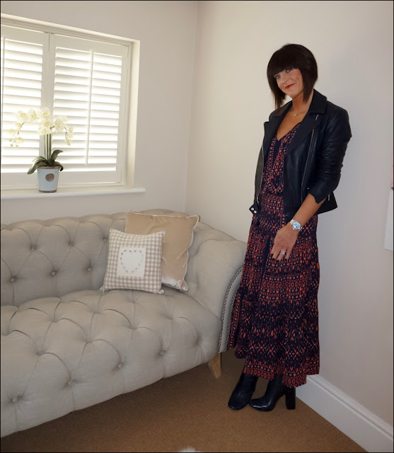 My Midlife Fashion, Massimo Dutti Leather biker jacket, great plains tarim ladder lace maxi skirt, great plains tarim ladder lace detail blouse