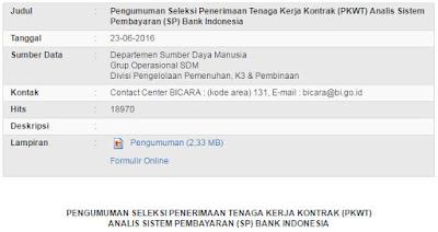 KARIR BANK INDONESIA - ANALIS  SISTEM PEMBAYARAN BANK INDONESIA