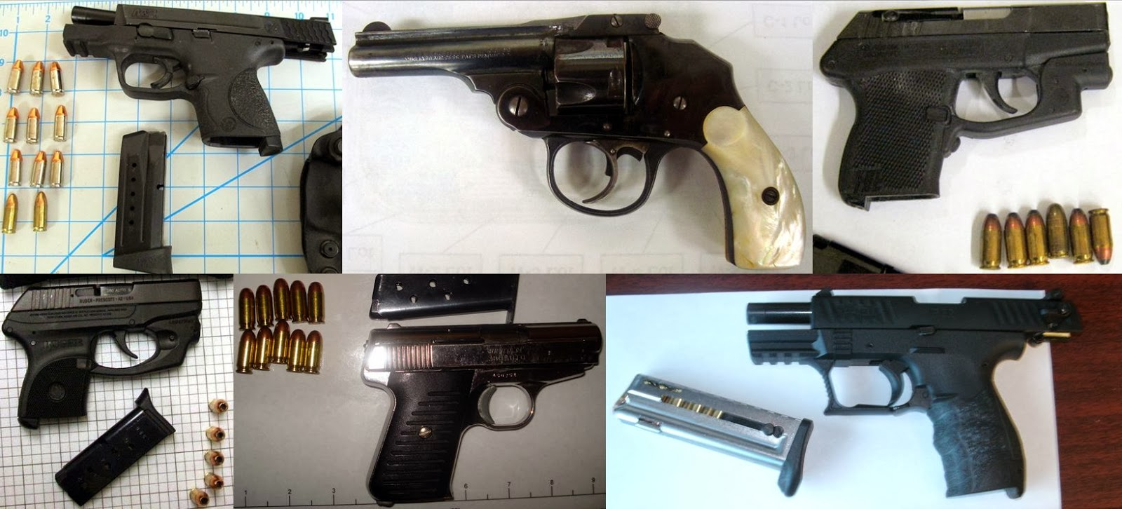 Left to Right - Top to Bottom: Firearms Discovered At PDX, CHS, DAL, GSP, SAT, SRQ