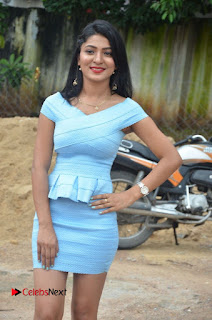 Actress Ankitha Jadhav Pictures in Blue Short Dress at Cottage Craft Mela 0018