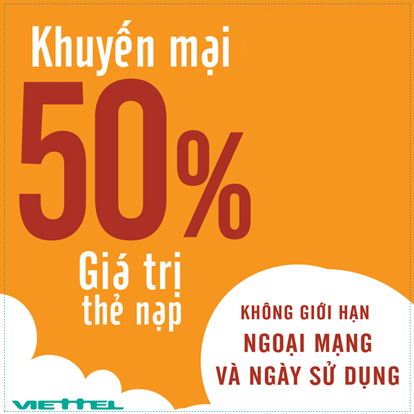 Khuyến mãi 50% giá trị thẻ nạp Viettel