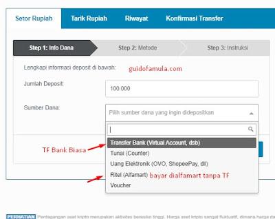 Cara deposit indodax virtual account mandiri
