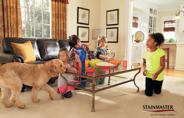 No need to worry about the carpet even with kids & a dog relaxing in their family room.
