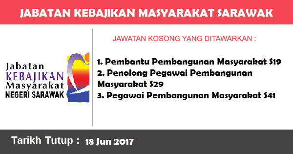 Jawatan Kosong di Jabatan Kebajikan Masyarakat (JKM) Sarawak