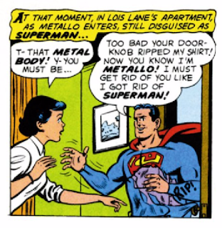 Action Comics (1938) #252 Page 13 Panel 1: Lois discovers her Superman is really Metallo in disguise because he accidentally rips his costume on Lois' doorknob.
