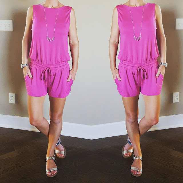 Stem Sleeveless Knit Romper - on sale in pink and gray! (Also in more colors for full price) // Chevron Necklace (similar for only $4) // J. Crew Factory Sandals (I just ordered these and they already sold out, similar here) // Michael Kors Runway Watch with Glitz