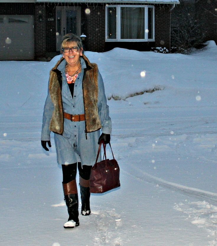 chambray and fur in the snow