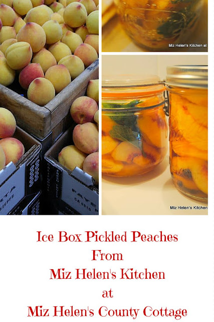 Ice Box Pickled Peaches have a fantastic flavor and just may bring back some memories of pickles in the icebox! Miz Helen's Country Cottage