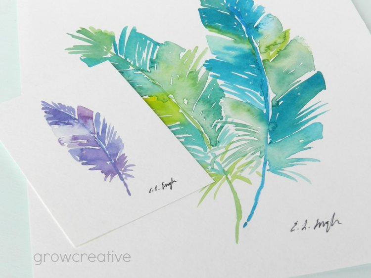 Purple,Blue and Green Original Watercolor Feathers Painting: Grow Creative