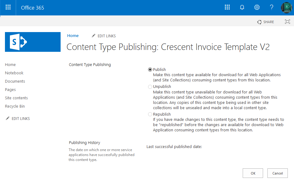 publish content type sharepoint online