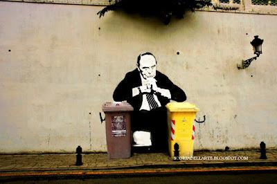 fotomanipolazioni satiriche-street art-Bruno Vespa e la raccolta Porta a Porta