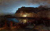 Fireworks in Naples (Oil on Canvas, 1875 - Cityscape Paintings) by Oswald Achenbach