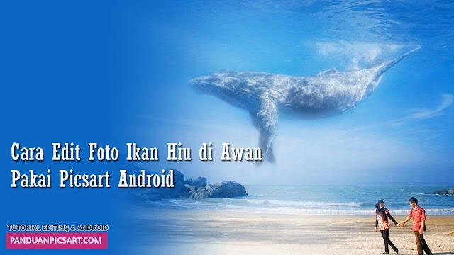 Tutorial Edit Foto Ikan Paus / Hiu di Atas Awan Dengan Picsart